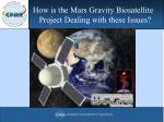 how is the mars gravity biosatellite project dealing with these issues