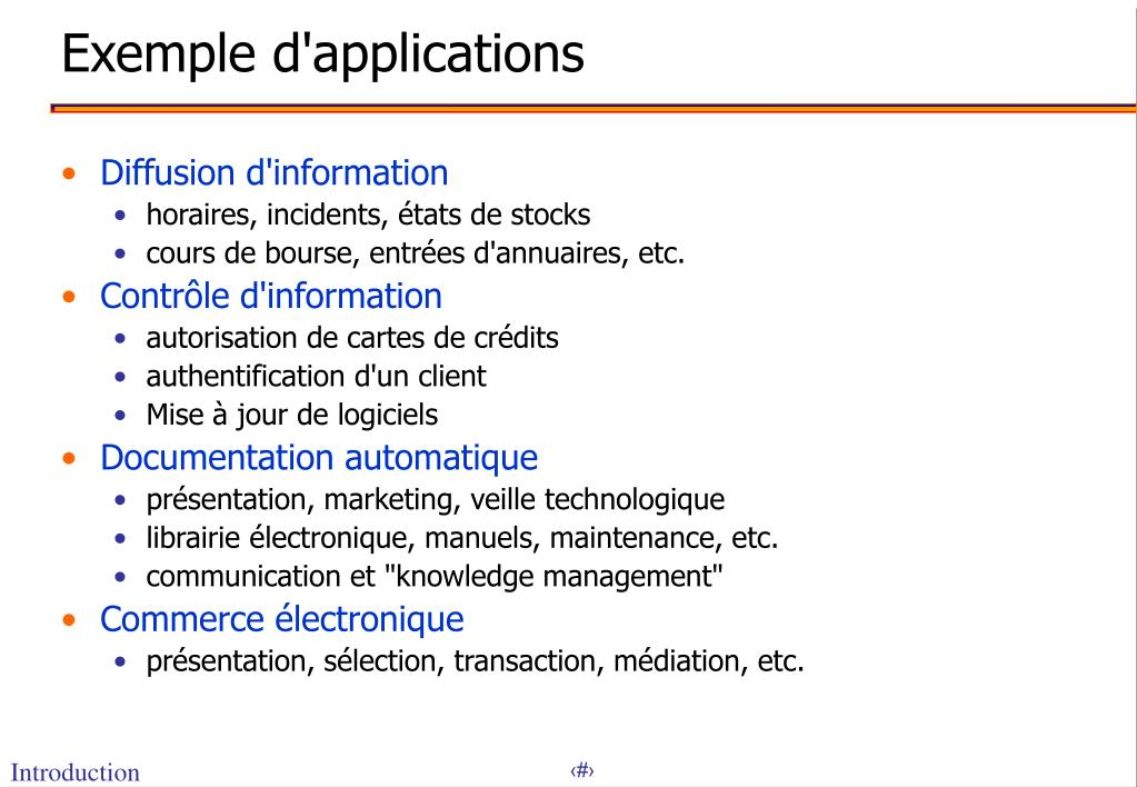 Exemple d'applications