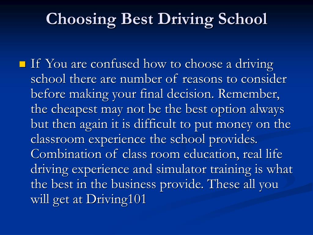 Choosing Best Driving School