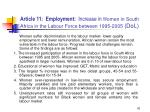 article 11 employment increase in w omen in south africa in the labour force between 1995 2005 dol