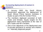 increasing deployment of women in missions