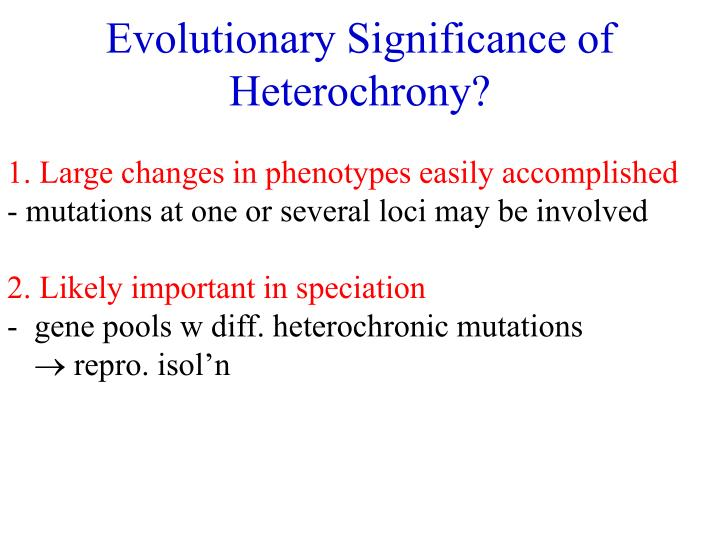 Evolutionary Significance of Heterochrony?