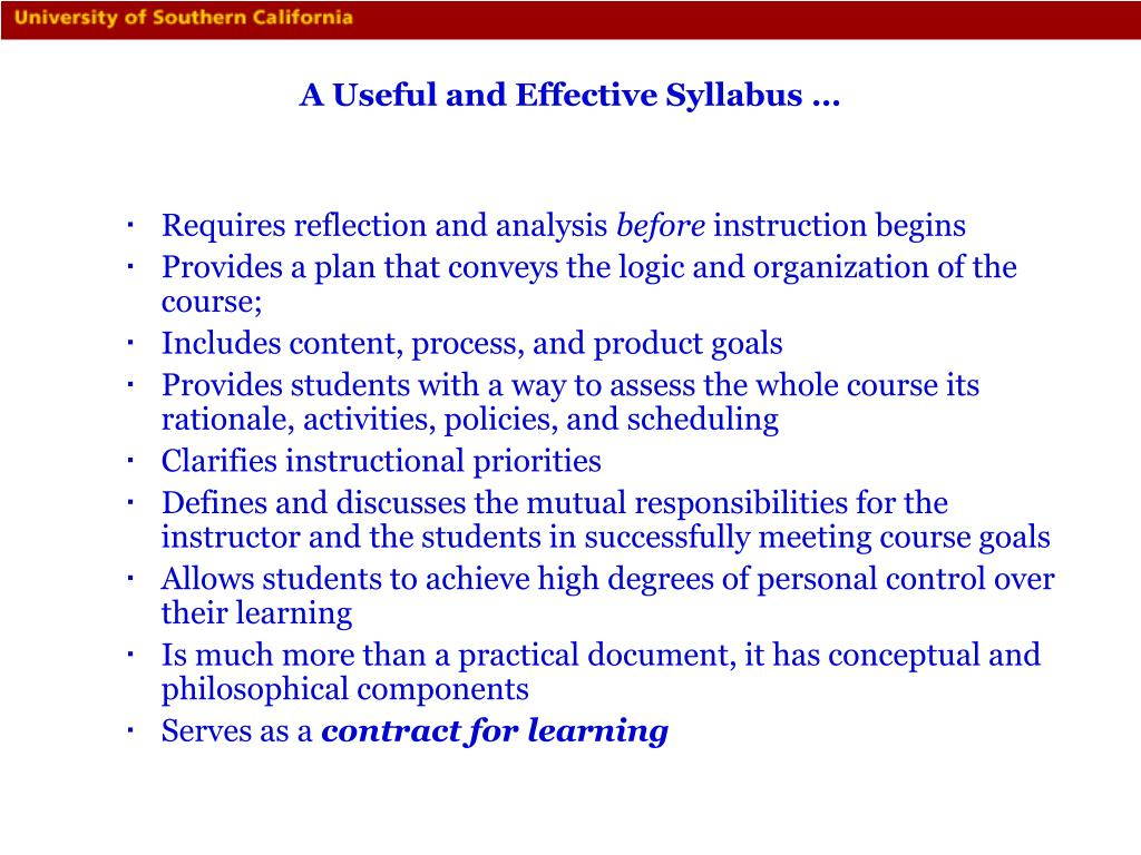 A Useful and Effective Syllabus …