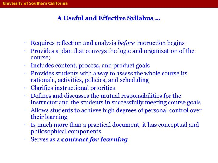 A useful and effective syllabus