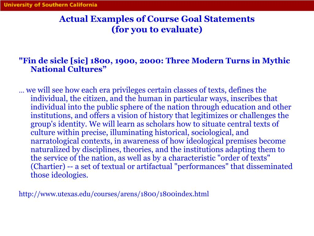 Actual Examples of Course Goal Statements