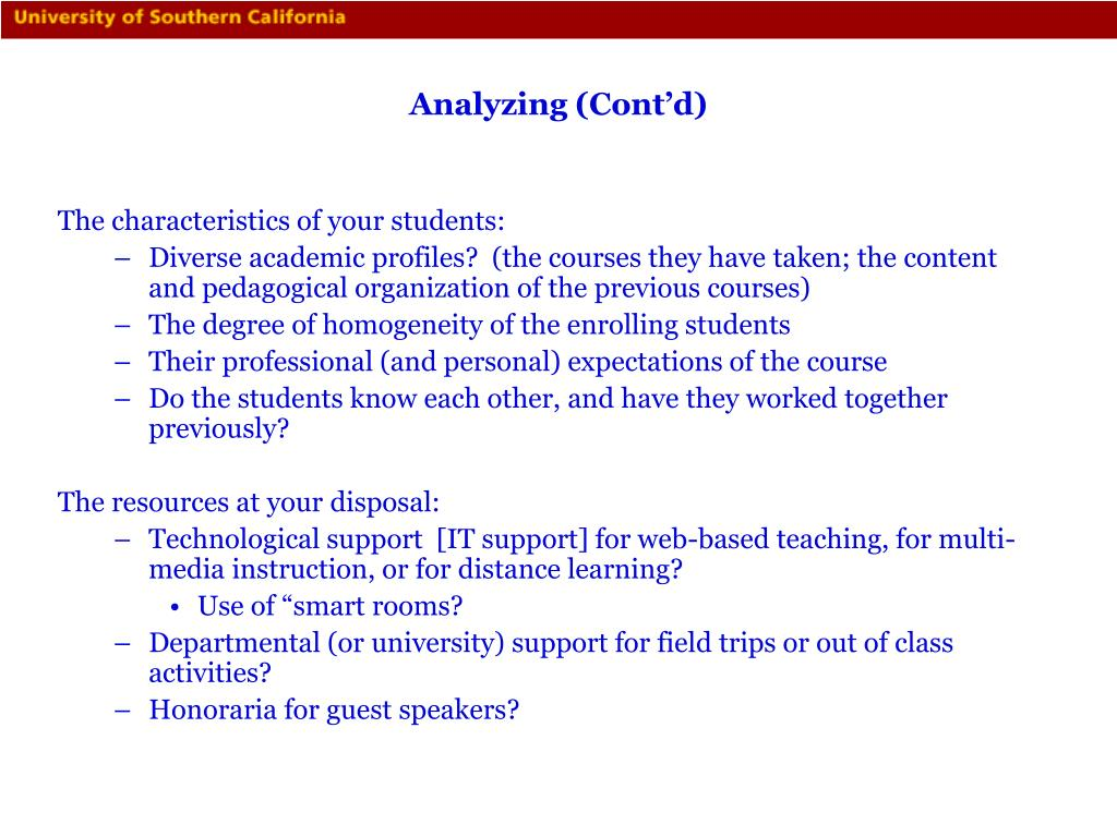 Analyzing (Cont'd)