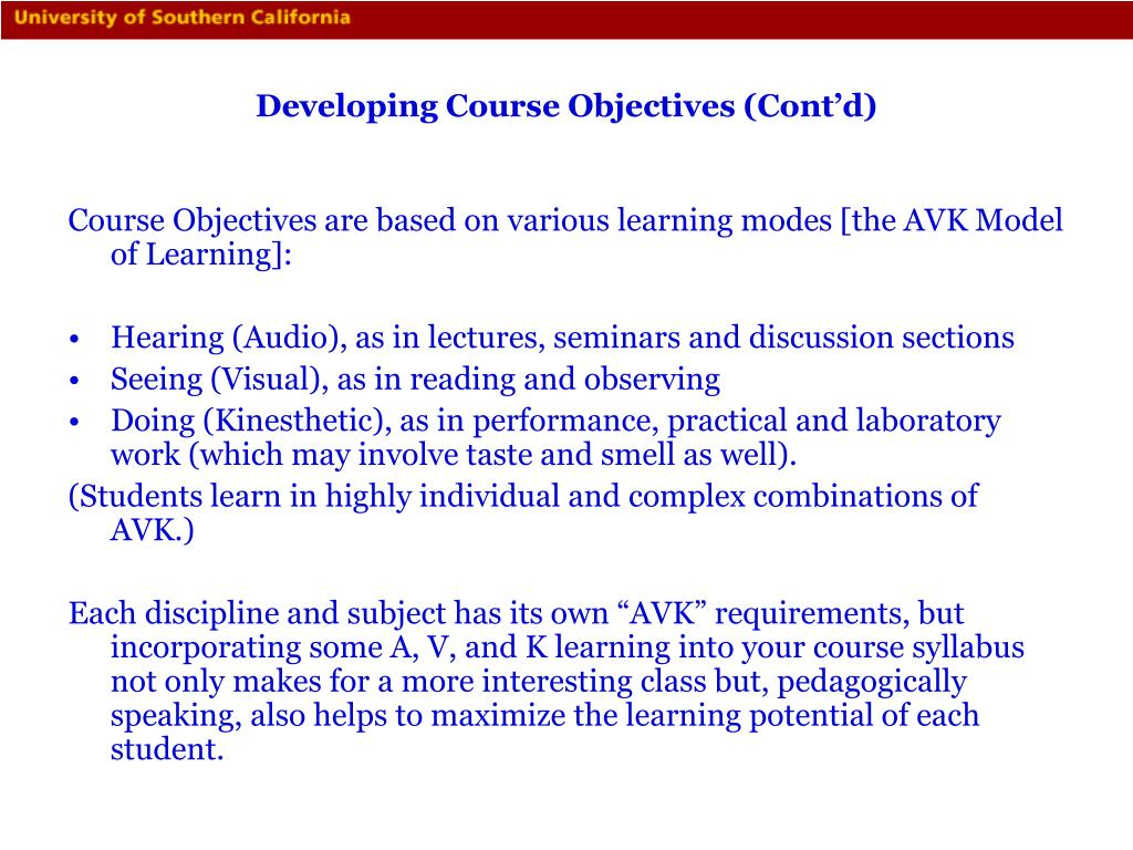 Developing Course Objectives (Cont'd)