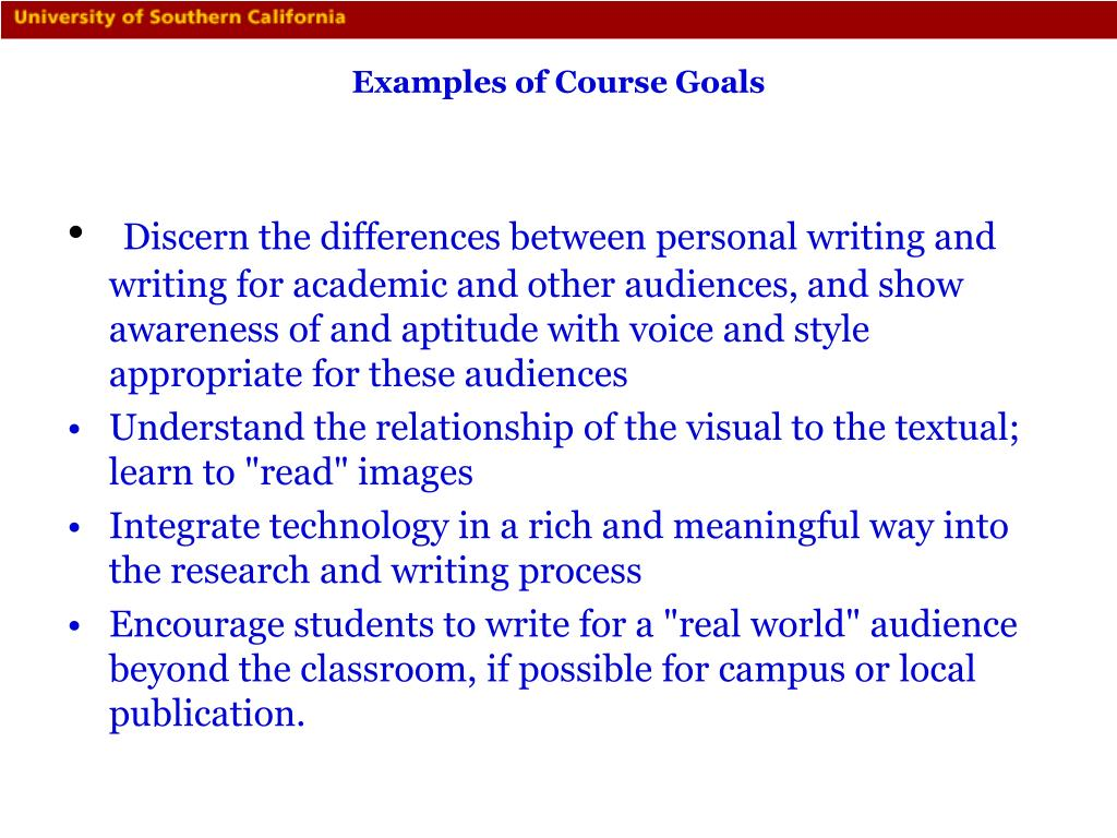 Examples of Course Goals