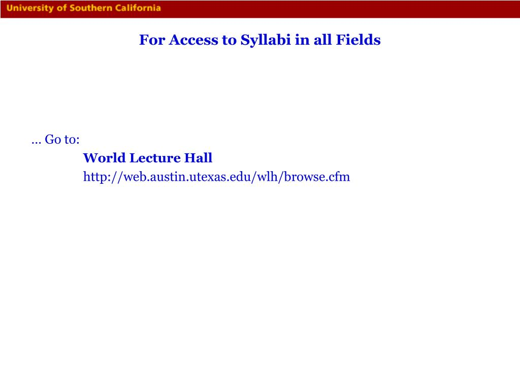 For Access to Syllabi in all Fields