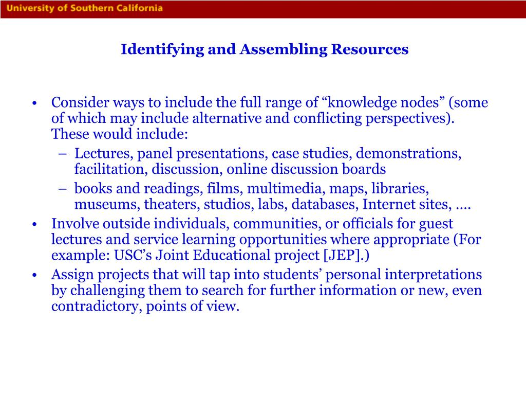 Identifying and Assembling Resources