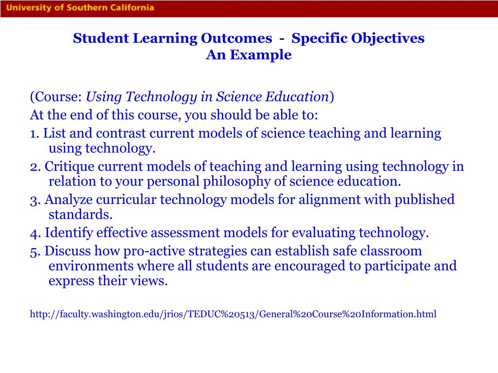 Student Learning Outcomes  -  Specific Objectives