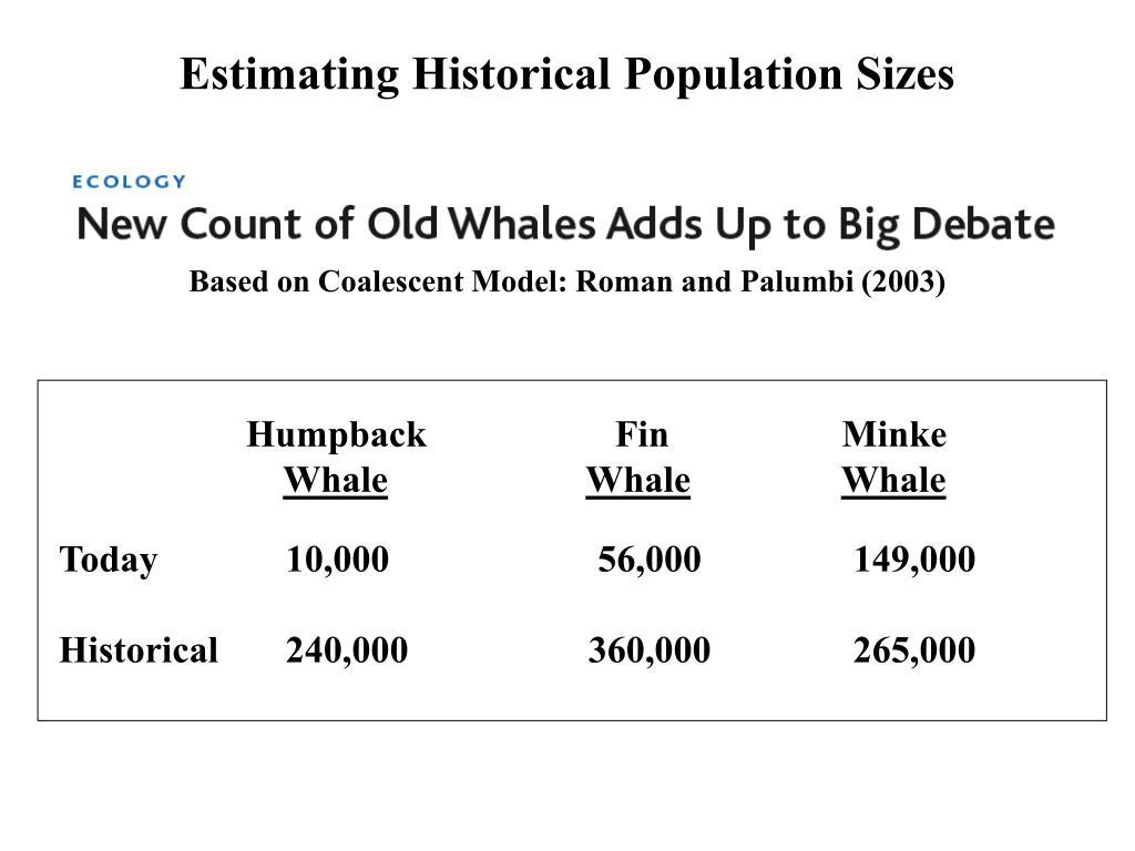 Estimating Historical Population Sizes