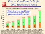 pre vs post event in fl for 2007 hurricane season