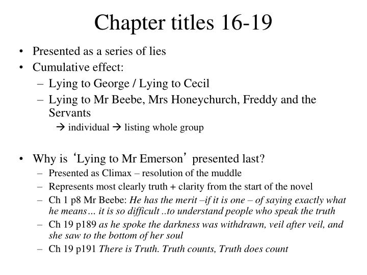 Chapter titles 16-19