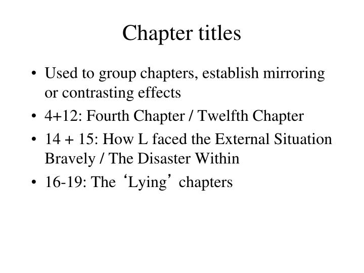 Chapter titles