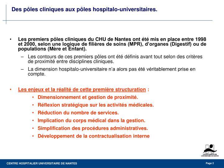 Des p les cliniques aux p les hospitalo universitaires