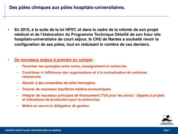 Des p les cliniques aux p les hospitalo universitaires1