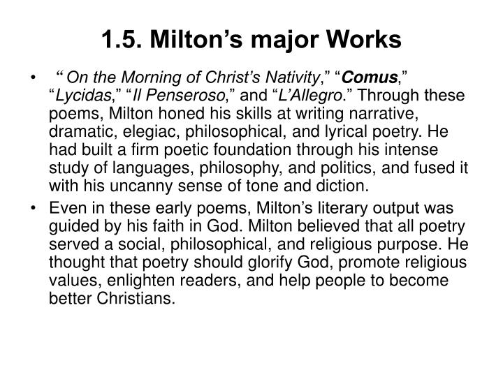 1.5. Milton's major Works