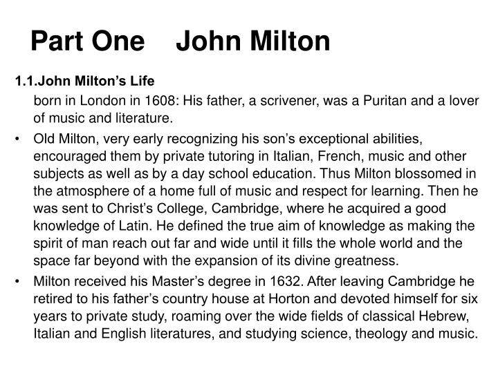 Part one john milton