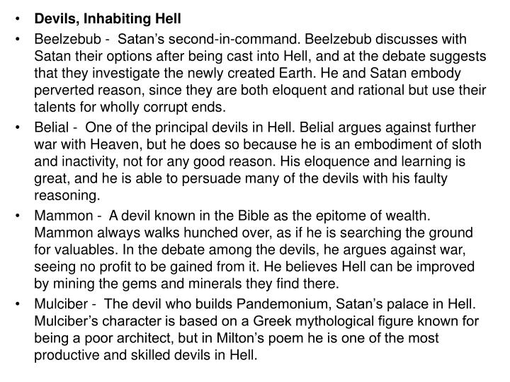 Devils, Inhabiting Hell