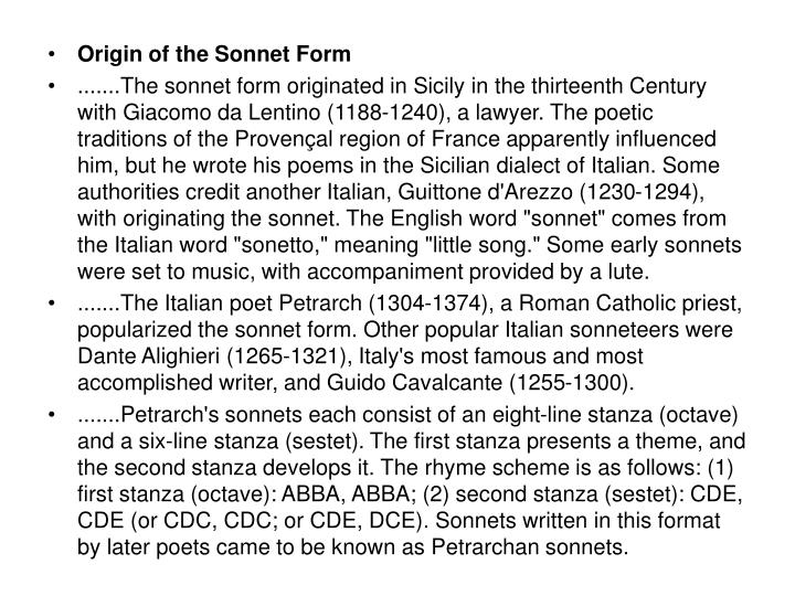 Origin of the Sonnet Form