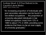 looking ahead a 10 year outlook for the canadian labour market hrsdc report october 20061