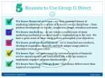 reasons to use group g direct