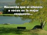 recuerda que el silencio a veces es la mejor respuesta
