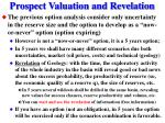 prospect valuation and revelation