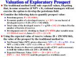 valuation of exploratory prospect6