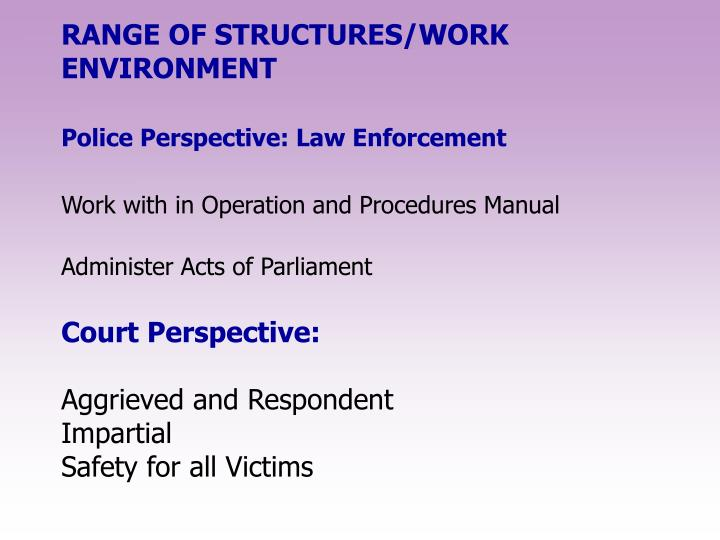 RANGE OF STRUCTURES/WORK ENVIRONMENT