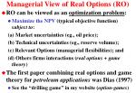 managerial view of real options ro