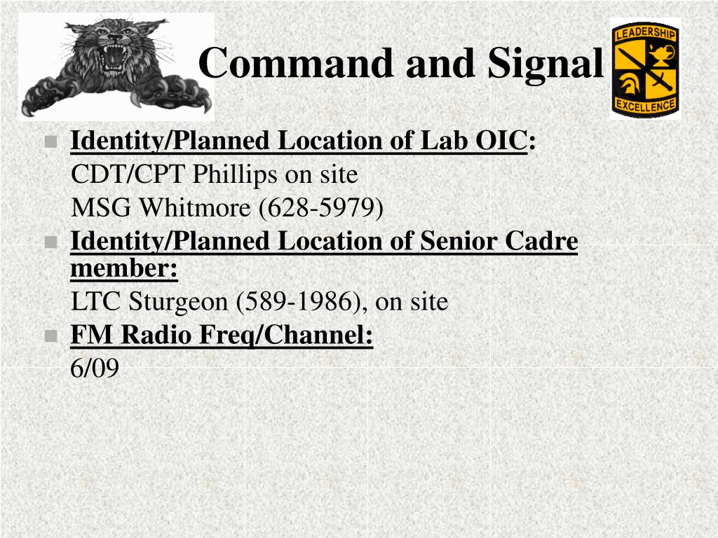 Identity/Planned Location of Lab OIC