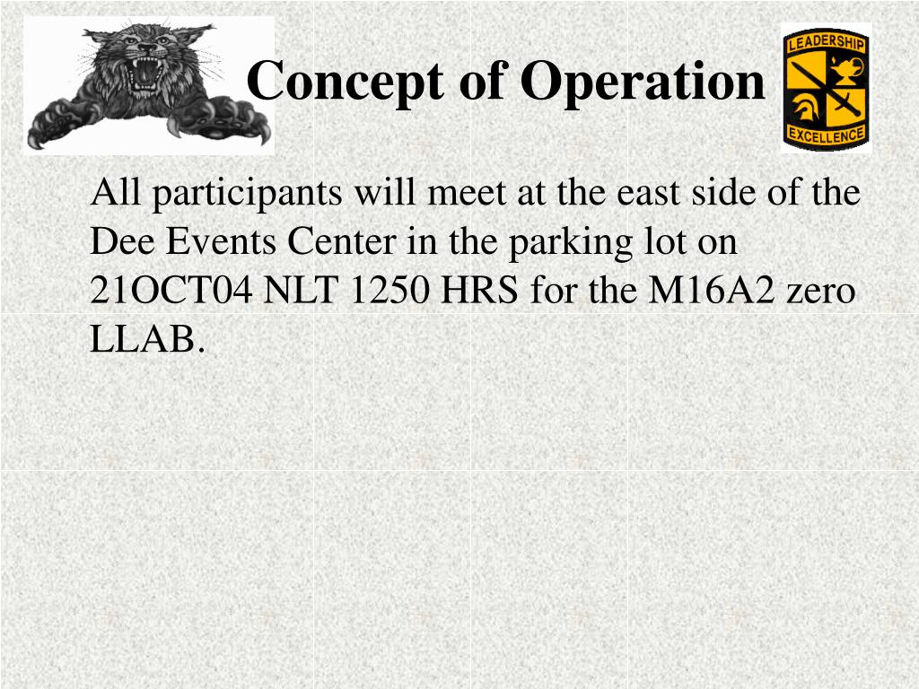 All participants will meet at the east side of the Dee Events Center in the parking lot on 21OCT04 NLT 1250 HRS for the M16A2 zero LLAB.