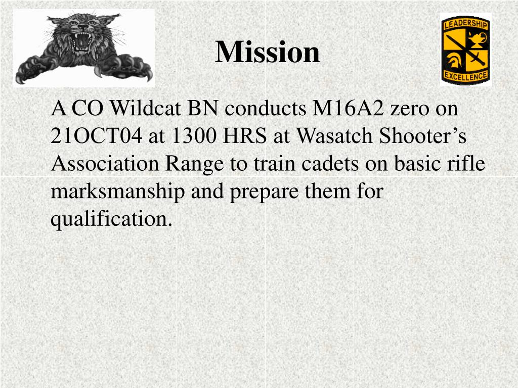 A CO Wildcat BN conducts M16A2 zero on 21OCT04 at 1300 HRS at Wasatch Shooter's Association Range to train cadets on basic rifle marksmanship and prepare them for qualification.
