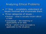 analyzing ethical problems