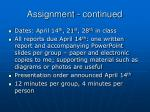 assignment continued