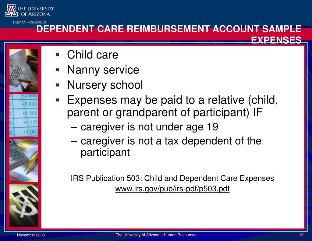DEPENDENT CARE REIMBURSEMENT ACCOUNT SAMPLE EXPENSES