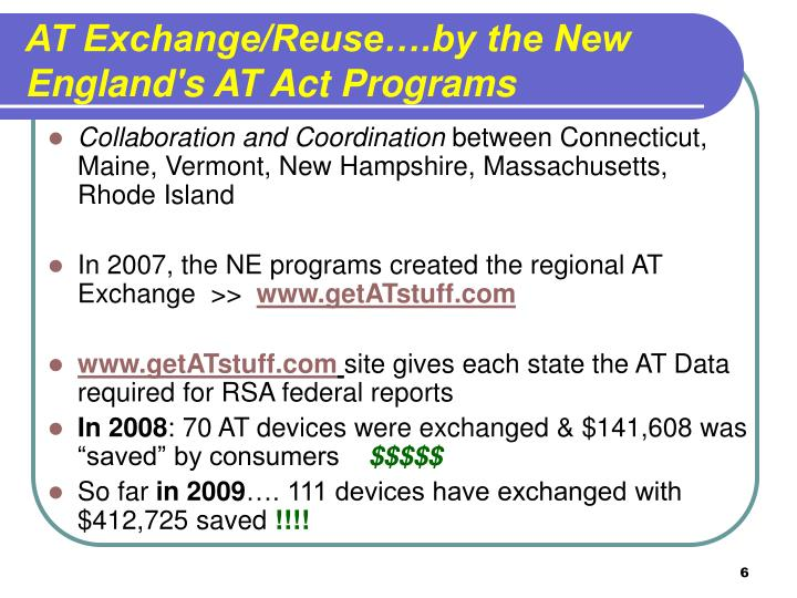 AT Exchange/Reuse….by the New England's AT Act Programs