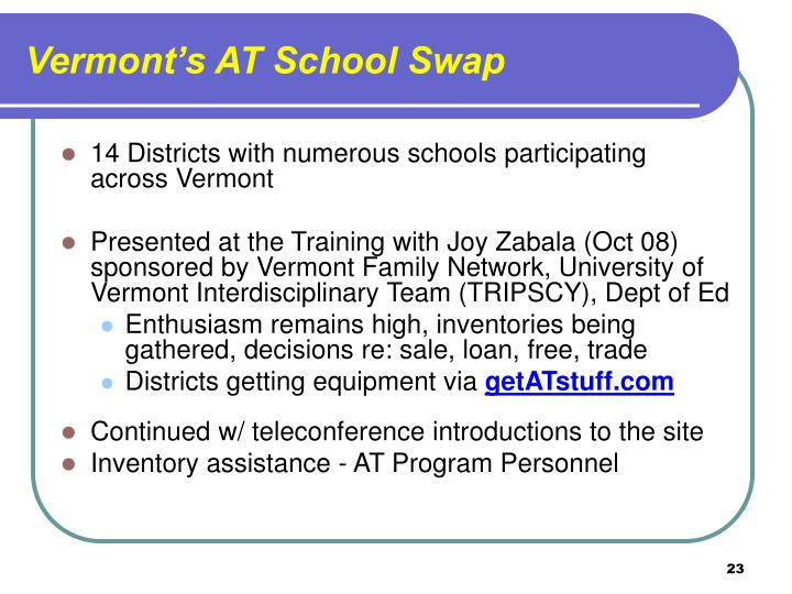 Vermont's AT School Swap