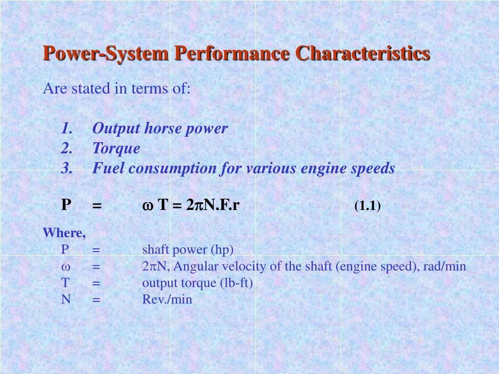 Power-System Performance Characteristics