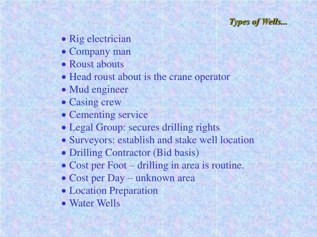 Types of Wells...