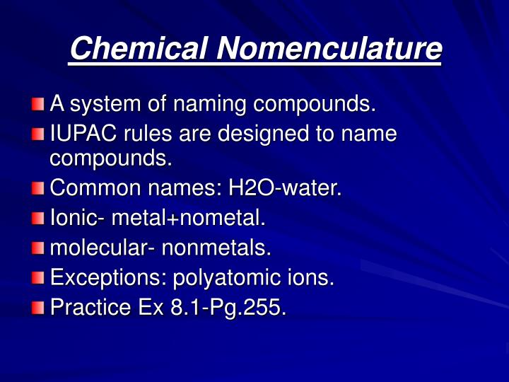 Chemical nomenculature