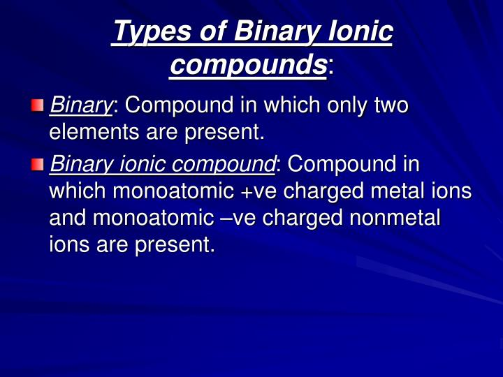 Types of binary ionic compounds