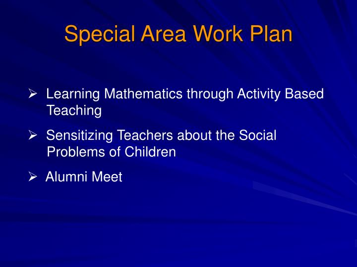 Special Area Work Plan