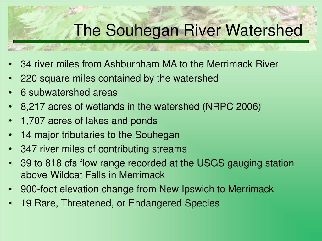 34 river miles from Ashburnham MA to the Merrimack River