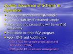 quality assurance of scheme in operation