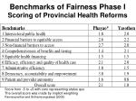 benchmarks of fairness phase i scoring of provincial health reforms