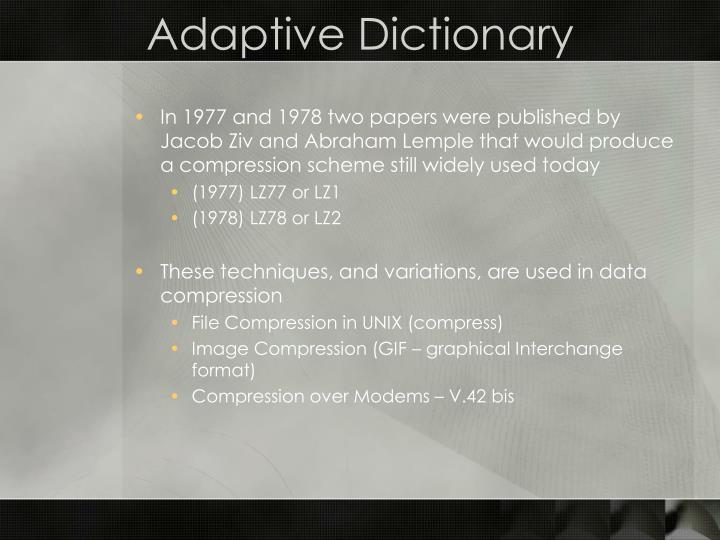 Adaptive dictionary1