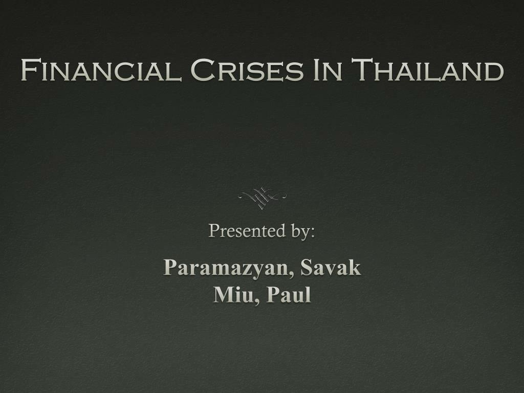 Financial Crises In Thailand